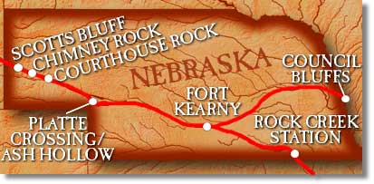 Map of Nebraska on the OregonTrail